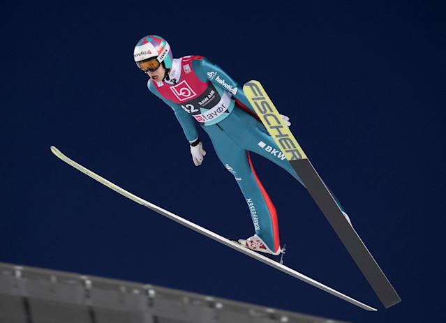 Ski Jumping World Cup - Men's HS134 Qualification - Holmenkollen, Oslo, Norway - March 9, 2018. Gregor Deschwanden of Switzerland is seen during official training. NTB Scanpix/Terje Bendiksby via REUTERS ATTENTION EDITORS - THIS IMAGE WAS PROVIDED BY A THIRD PARTY. NORWAY OUT. NO COMMERCIAL OR EDITORIAL SALES IN NORWAY.