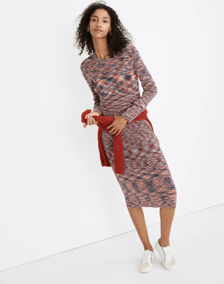"""30% off with code <strong>TINSEL</strong> for a limited time.<br><br><strong>Madewell</strong> Space-Dyed Midi Sweater Dress, $, available at <a href=""""https://go.skimresources.com/?id=30283X879131&url=https%3A%2F%2Fwww.madewell.com%2Fspace-dyed-midi-sweater-dress-MB239.html%3Fdwvar_MB239_color%3DSU5103"""" rel=""""nofollow noopener"""" target=""""_blank"""" data-ylk=""""slk:Madewell"""" class=""""link rapid-noclick-resp"""">Madewell</a>"""