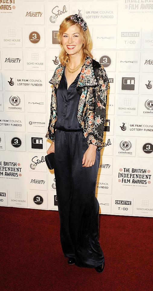"""<a href=""""http://movies.yahoo.com/movie/contributor/1804544482"""">Rosamund Pike</a> at the 2009 British Independent Film Awards in London - 12/06/2009"""