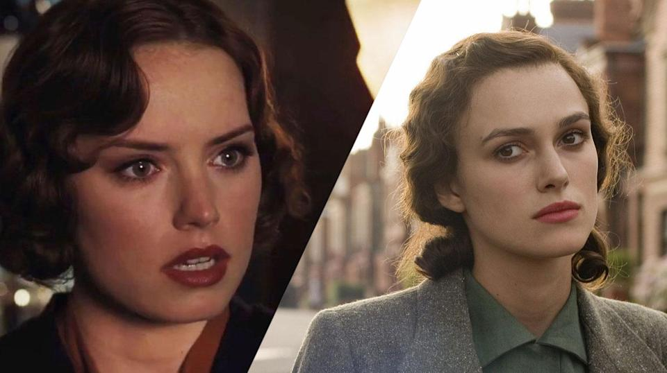 <p>Daisy Ridley is best known for <em>The Force Awakens</em>, <em>The Last Jedi</em> and <em>Murder On The Orient Express</em>. Keira Knightley was in the <em>Star Wars</em> prequels, the <em>Pirates</em> movies, and <em>Atonement</em> (and many other movies). </p>