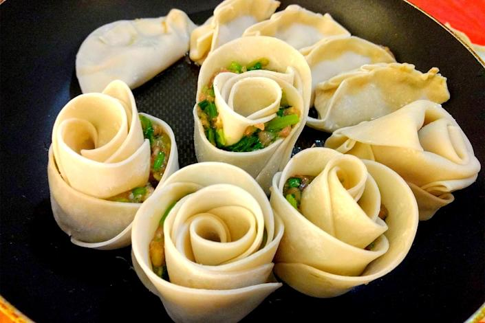 Rose-shaped dumplings before being cooked. (Courtesy Yin Yang)