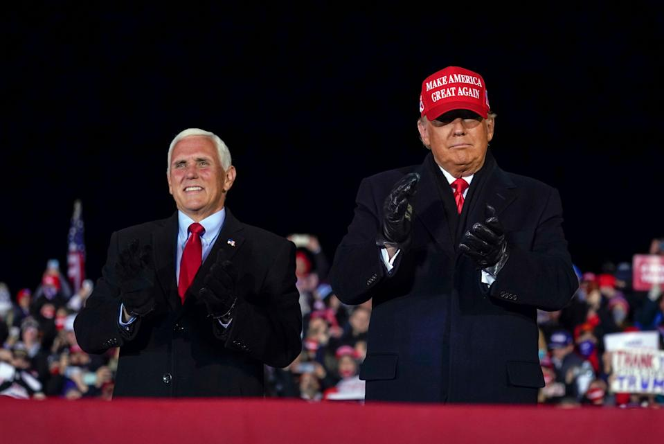 Mike Pence and Donald Trump on the eve of the 2020 election (AP)