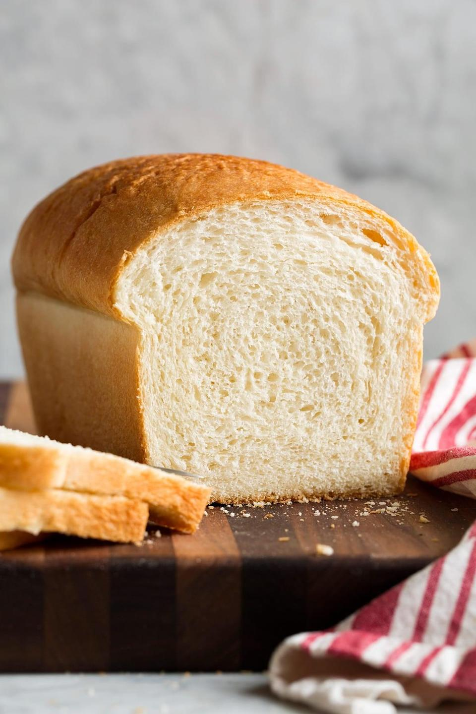 "<p>From crunchy breakfast toast to a loaded lunch sandwich, this white bread can be grazed on all day long. Enjoy it with spreads, meats, and so much more.</p> <p><strong>Get the recipe</strong>: <a href=""https://www.cookingclassy.com/homemade-bread/"" class=""link rapid-noclick-resp"" rel=""nofollow noopener"" target=""_blank"" data-ylk=""slk:basic white bread"">basic white bread</a></p>"