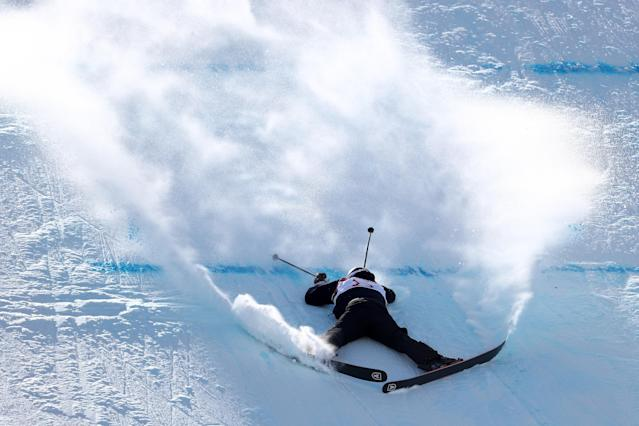<p>Mathilde Gremaud of Switzerland crashes during the Freestyle Skiing Ladies' Ski Slopestyle final on day eight of the PyeongChang 2018 Winter Olympic Games at Phoenix Snow Park on February 17, 2018 in Pyeongchang-gun, South Korea. (Photo by Clive Rose/Getty Images) </p>