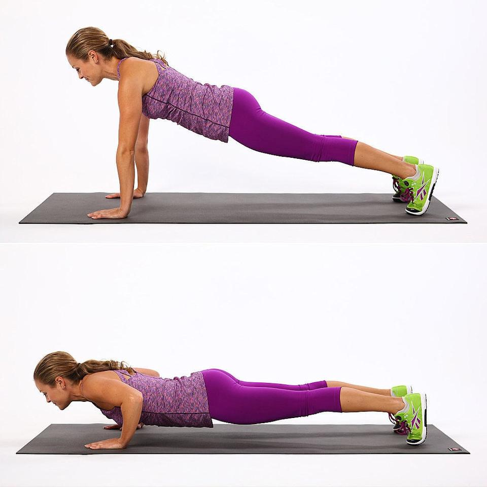 <ul> <li>Start in a plank position, with palms spread out evenly and your shoulders over your wrists and legs out behind you. Pull your belly button in, and keep your back straight.</li> <li>As you lower and exhale, bend your elbows outward to the sides. Hold at the bottom before you raise back up to complete one rep.</li> </ul>