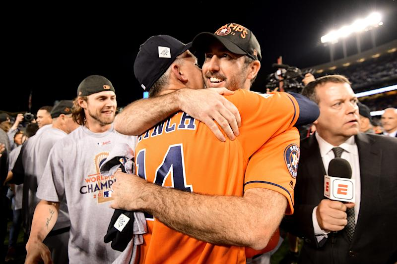 Justin Verlander of the Houston Astros celebrates with manager A.J. Hinch after defeating the Los Angeles Dodgers 5-1 in Game 7 to win the World Series at Dodger Stadium on Nov. 1, 2017 in Los Angeles.
