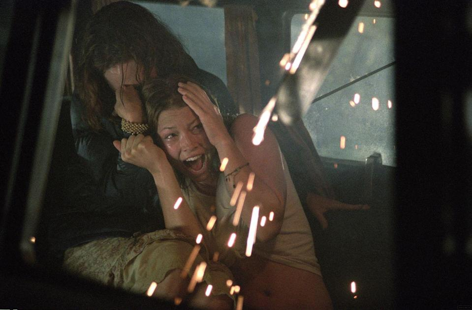 <p>In an effort to shed her good-girl <em>7th Heaven</em> image, Biel took a terrifying trip to Texas, where her character Erin was met face-to-face with a chainsaw-wielding maniac. </p>