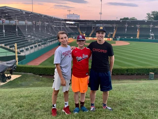 """The Tanous boys in Williamsport: Gabe, 14 (l.), <a class=""""link rapid-noclick-resp"""" href=""""/soccer/players/1787811/"""" data-ylk=""""slk:Lucas"""">Lucas</a>, 11 (center), and Sam (17), (r.). (Photo courtesy of the Tanous family)"""
