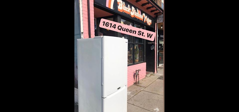 The Community Fridge in Parkdale, seen here on October 11, 2020, was removed by bylaw officers this week. (Instagram/cf__to)