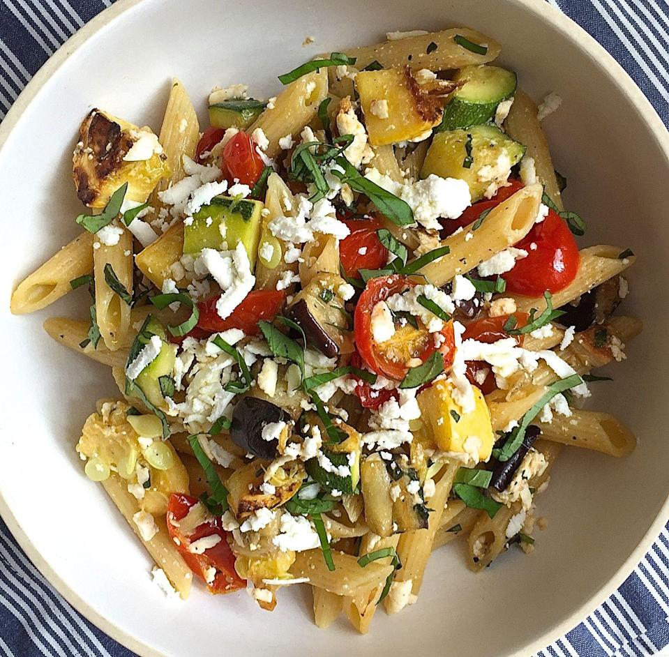 """<p>Ricotta salata—ricotta's saltier cousin—adds a sharp tang to this summer pasta dish.</p><p>Get the recipe from <a href=""""https://www.delish.com/cooking/recipe-ideas/recipes/a42906/penne-with-roasted-summer-vegetables-and-ricotta-salad/"""" rel=""""nofollow noopener"""" target=""""_blank"""" data-ylk=""""slk:Delish"""" class=""""link rapid-noclick-resp"""">Delish</a>.</p>"""