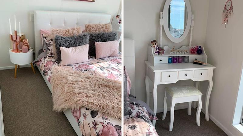 A mum has shared her epic Kmart bedroom makeover for her 13-year-old daughter's birthday. Photo: Supplied