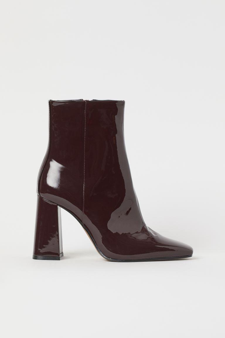 <p><span>H&M Patent Ankle Boots</span> ($50)</p>