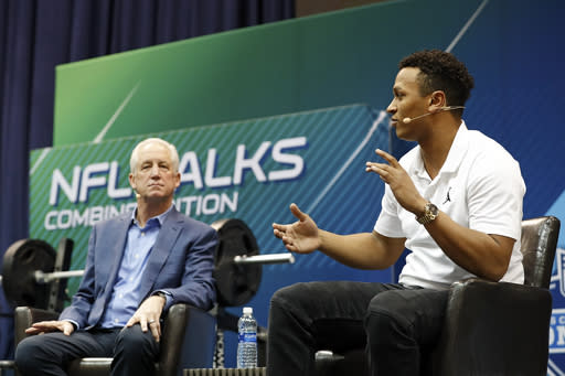 IMAGE DISTRIBUTED FOR THE NFL - Former head coach John Fox, left, listens as Cleveland Browns quarterback Deshone Kizer talks during the NFL Talks Combine Edition live on Sirius XM NFL Radio at the NFL football scouting combine, Friday, March 2, 2018, in Indianapolis. (Photo by Aaron M. Sprecher/AP Images for NFL)