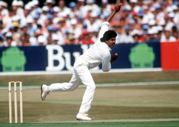 Sport. Cricket. pic:18th July 1990. Texaco 1 Day International at Headingley. England beat India. Kapil Dev, India. Kapil Dev was the first genuine pace bowler India produced after partition, playing in Tests from 1978-1994, and was also a recognised big : News Photo