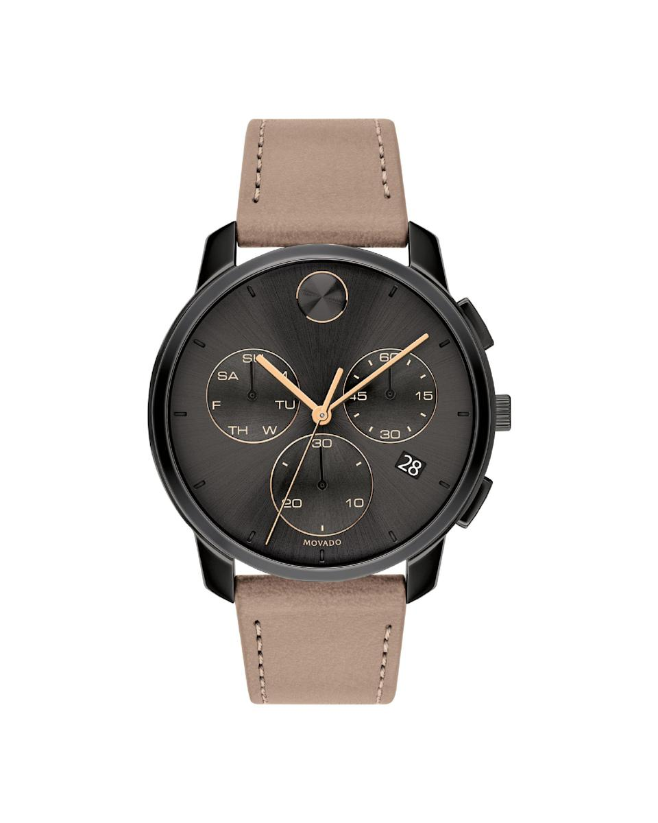 "<p><strong>Movado</strong></p><p>nordstrom.com</p><p><strong>$650.00</strong></p><p><a href=""https://go.redirectingat.com?id=74968X1596630&url=https%3A%2F%2Fwww.nordstrom.com%2Fs%2Fmovado-bold-chronograph-leather-strap-watch-42mm%2F5613967&sref=https%3A%2F%2Fwww.marieclaire.com%2Ffashion%2Fnews%2Fg3961%2Fbest-watches-for-women%2F"" rel=""nofollow noopener"" target=""_blank"" data-ylk=""slk:Shop Now"" class=""link rapid-noclick-resp"">Shop Now</a></p><p>A seriously stylish chronograph, with matte black hardware and a soft fawn band.</p>"