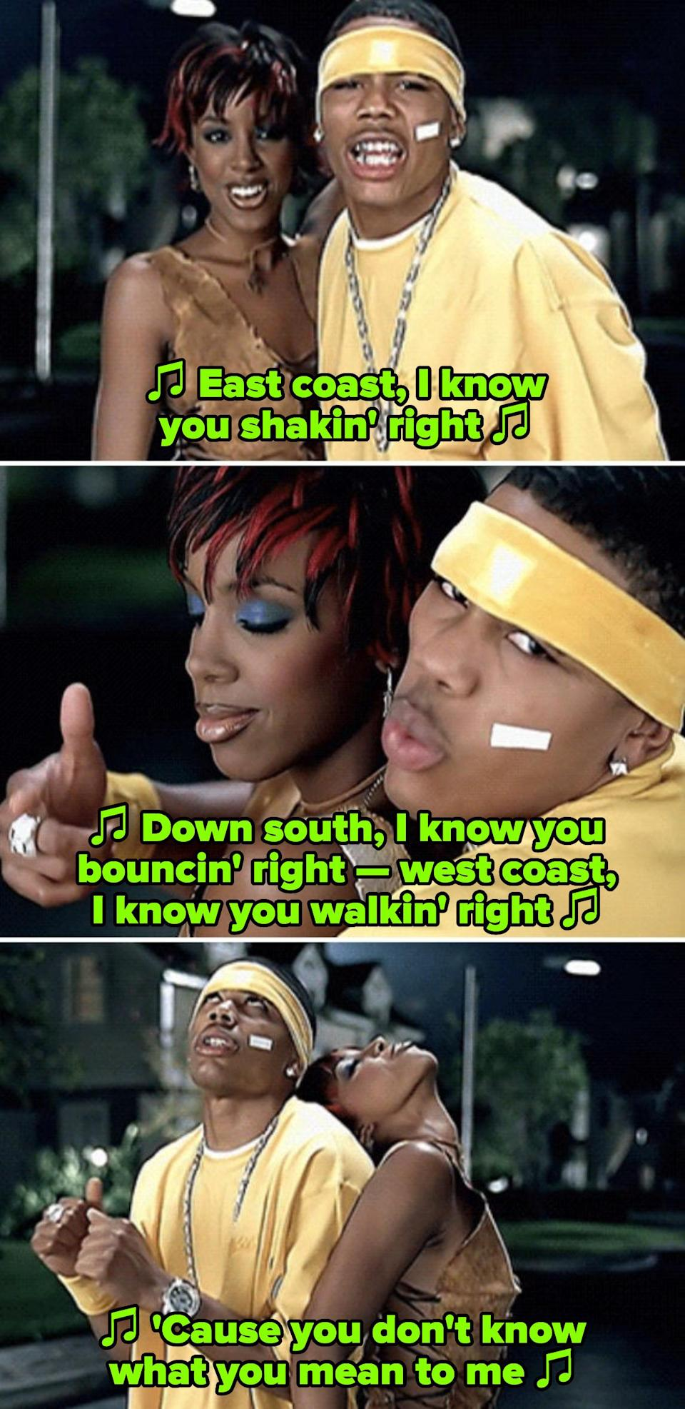 """Rowland and Nelly in their """"Dilemma"""" music video, singing: """"East coast, I know you shakin' right, down south, I know you bouncin' right"""""""
