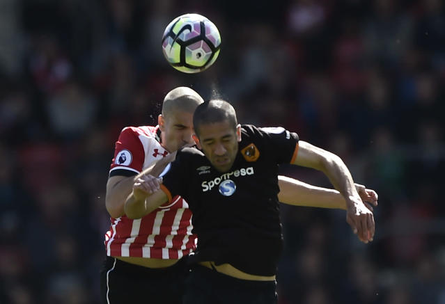 "<p>Britain Football Soccer – Southampton v Hull City – Premier League – St Mary's Stadium – 29/4/17 Southampton's Oriol Romeu in action with Hull City's Evandro Goebel Reuters / Hannah McKay Livepic EDITORIAL USE ONLY. No use with unauthorized audio, video, data, fixture lists, club/league logos or ""live"" services. Online in-match use limited to 45 images, no video emulation. No use in betting, games or single club/league/player publications. Please contact your account representative for further details. </p>"
