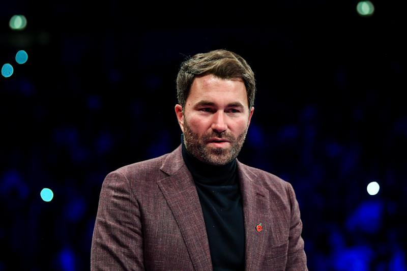 MANCHESTER , UNITED KINGDOM - 2 November 2019; Promoter Eddie Hearn in attendance at the Manchester Arena, England, ahead of the WBO Women's Super-Lightweight World title fight between Katie Taylor and Christina Linardatou. (Photo By Stephen McCarthy/Sportsfile via Getty Images)