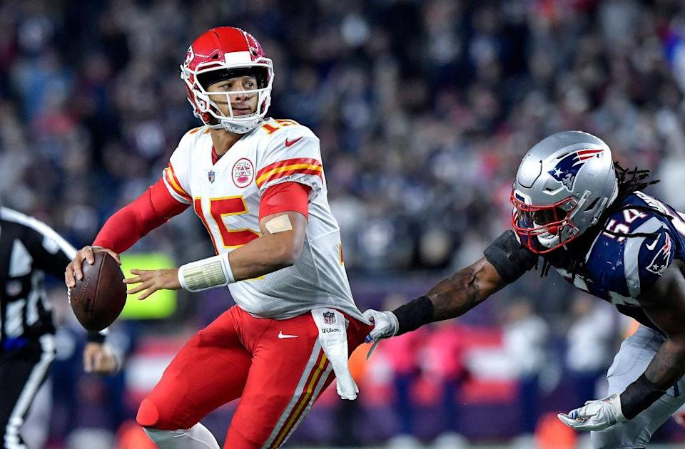 Patrick Mahomes tried to guide the Chiefs to a win over New England. (Getty)
