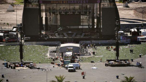 PHOTO: Debris is strewn through the scene of a mass shooting at a music festival near the Mandalay Bay resort and casino on the Las Vegas Strip, Oct. 2, 2017, in Las Vegas. (John Locher/AP)