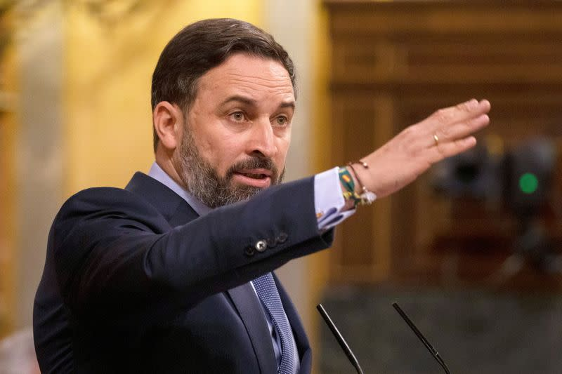 Santiago Abascal, leader of far-right party Vox, delivers his speech during a no confidence motion against the government at parliament in Madrid
