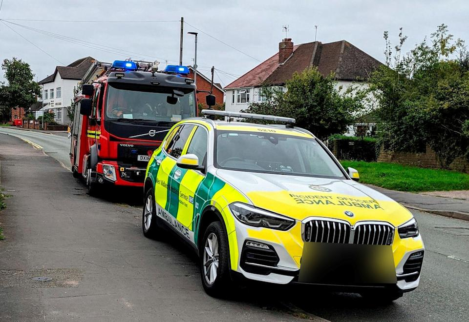 A woman has been rushed to hospital with serious injuries after becoming impaled on a stair railing.  See SWNS story SWMDbannister.  Emergency services, including firefighters and an air ambulance, dashed to the scene in Ounsdale Road, Wombourne, Staffs, at around 9am on Wednesday, September 1.  Medics found an elderly woman impaled on a stair railing. The 92-year-old was given pain relief and advanced trauma care at the scene before being rushed to Queen Elizabeth Hospital.