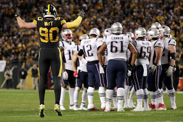 Linebacker T.J. Watt (90) and the Steelers will open the season against the Patriots. (AP)