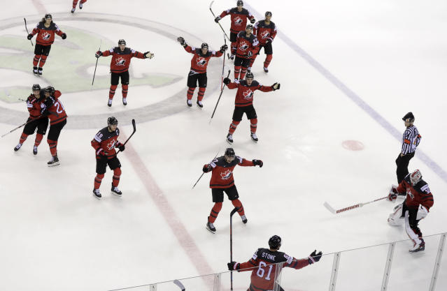Canada's Mark Stone, foreground, celebrates after scoring his side's third goal during the Ice Hockey World Championships quarterfinal match between Canada and Switzerland at the Steel Arena in Kosice, Slovakia, Thursday, May 23, 2019. (AP Photo/Petr David Josek)