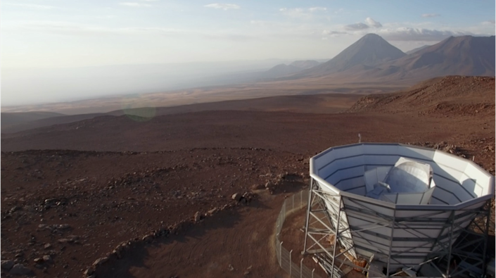 The 6 m long Atacama telescope in Chile examined the cosmic microwave background