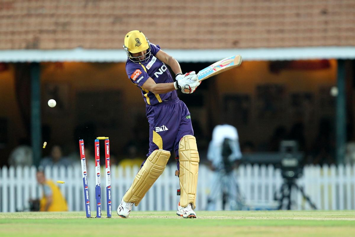 Manvinder Bisla plays a shot on free hit delivery during match 38 of the Pepsi Indian Premier League between The Chennai Superkings and the Kolkata Knight Riders held at the MA Chidambaram Stadiumin Chennai on the 28th April 2013. (BCCI)
