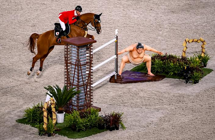 <p>Tokyo , Japan - 4 August 2021; Daisuke Fukushima of Japan riding Chayon during the jumping individual final at the Equestrian Park during the 2020 Tokyo Summer Olympic Games in Tokyo, Japan. (Photo By Stephen McCarthy/Sportsfile via Getty Images)</p>