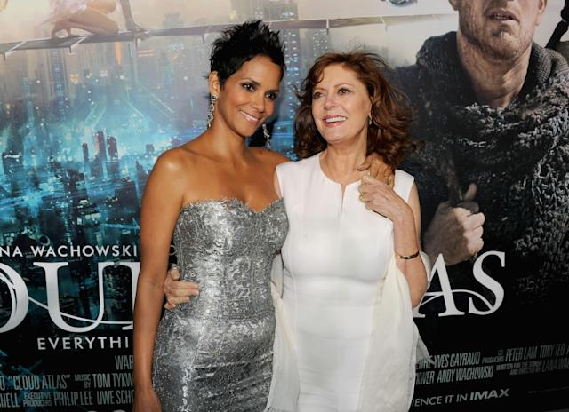 <p>Berry shares a sweet moment with co-star Susan Sarandon at the Hollywood premiere of the David Mitchell novel turned feature film.<br> (Photo: Getty Images) </p>