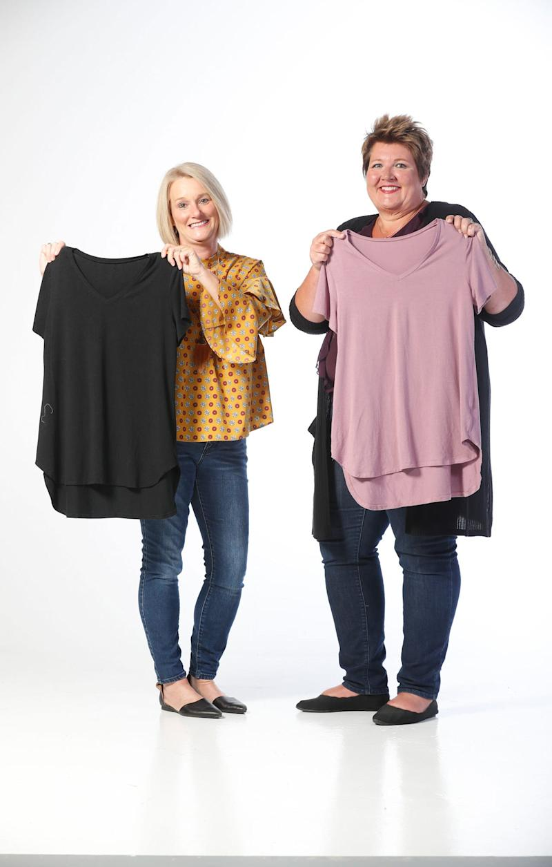 Cool Revolution co-founders, Mindy Ford, left, and Laura Musall, right, shown here on Wednesday, Aug. 28, 2019, have created a new product for women, pajamas for those who suffer from the symptoms of perimenopause and menopause, www.CoolRevolutionPJs.com. The duo created pajamas that are made from bamboo, which is naturally cooling, wicks away moisture, dries quickly and is naturally anti-bacterial so that it won't smell.
