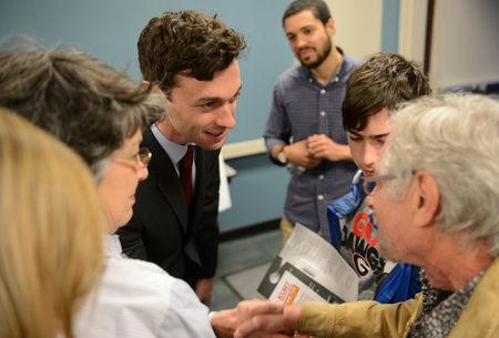 Democratic candidate Jon Ossoff greets supporters after the League of Women Voters' candidate forum for Georgia's 6th Congressional District special election to replace Tom Price, who is now the secretary of Health and Human Services, in Marietta, Georgia, U.S. April 3, 2017. REUTERS/Bita Honarvar