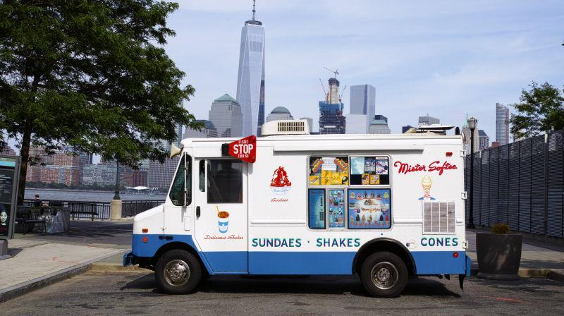 Mister Softee truck parked in front of city skyline