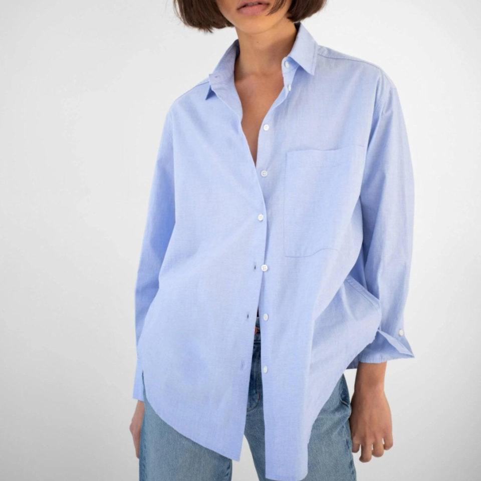 """Look to AYR for basics you'll want to live in, like this long-sleeve button-up shirt that's perfect for low-key lunch dates, trips to the farmer's market, and debating the revival of preppy uniform dressing. $125, AYR. <a href=""""https://www.ayr.com/products/the-deep-end-1#32532560019535"""" rel=""""nofollow noopener"""" target=""""_blank"""" data-ylk=""""slk:Get it now!"""" class=""""link rapid-noclick-resp"""">Get it now!</a>"""