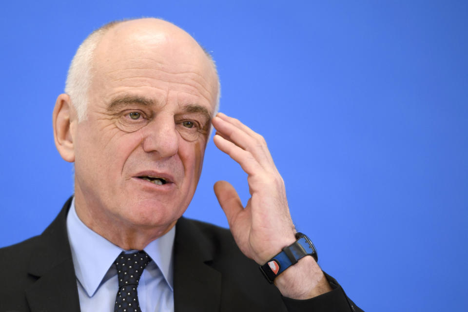 """Candidate to the post of Director-General of the World Health Organization (WHO) David Nabarro gestures during a press conference on January 26, 2017 in Geneva - The World Health Organization picked three finalists for the role of its next director-general, a high-stakes choice for the powerful agency described as facing an """"existential crisis"""". (Photo by FABRICE COFFRINI / AFP) (Photo by FABRICE COFFRINI/AFP via Getty Images)"""