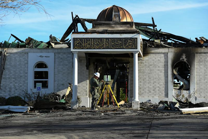 Arson destroyed a mosque in Victoria, Texas, in January. Police later arrested 25-year-old Marq Vincent Perez, who has been charged with a hate crime. (Mohammad Khursheed / Reuters)