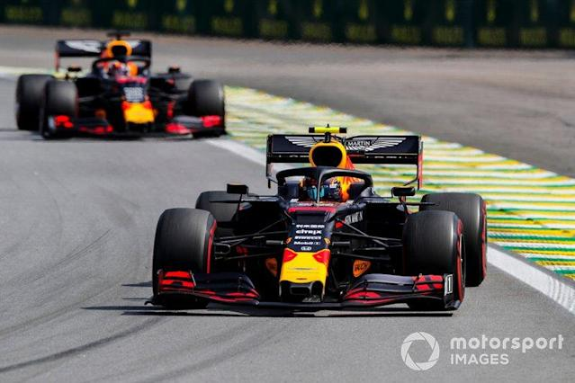 """Alexander Albon, Red Bull RB15 and Max Verstappen, Red Bull Racing RB15 <span class=""""copyright"""">Steven Tee / Motorsport Images</span>"""