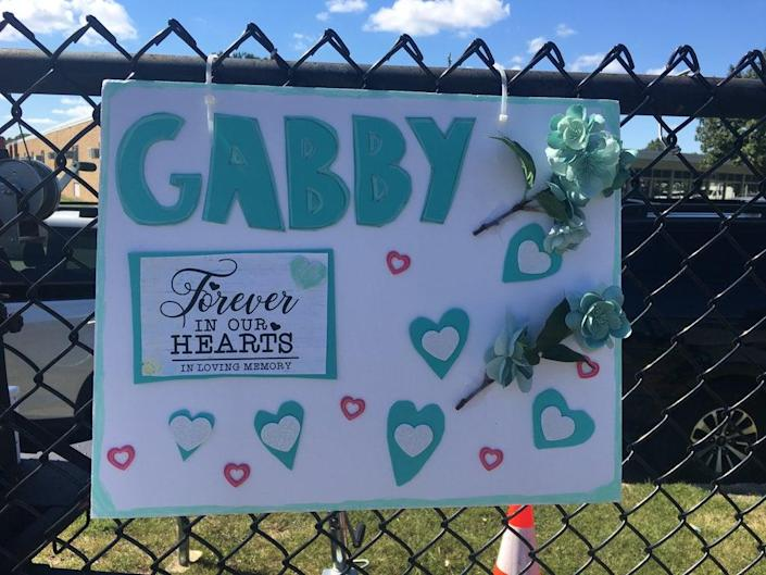 A sign in support of Gabby Petito in Holbrook, Long Island (Bevan Hurley/The Independent)