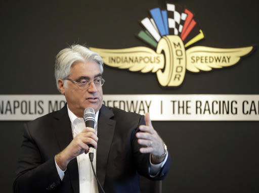FILE - In this Tuesday, Feb. 2, 2016 file photo, Mark Miles, the CEO of IndyCar's parent company, Hulman & Co., speaks during IndyCar media day at the Indianapolis Motor Speedway in Indianapolis. IndyCar Series officials hope to make an announcement about its new title sponsor before a February test in Austin, Texas, and long before NBC begins its expanded coverage of the series this season. Mark Miles, president and CEO of IndyCar parent Hulman & Co., said he would like to see the new sponsors name on the cars and fire suits for the test. NBC also announced Wednesday, Jan. 9, 2019 it will carry eight races on network television this season. (AP Photo/Darron Cummings, File)