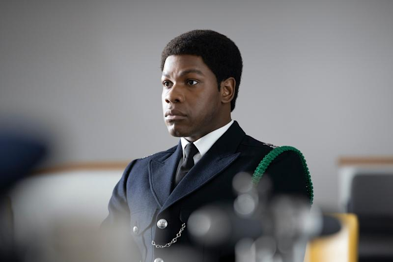 """John Boyega stars as London cop Leroy Logan in """"Red, White and Blue,"""" part of Steve McQueen's """"Small Axe"""" anthology."""