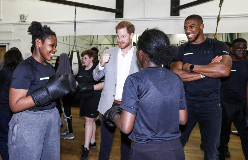 The Duke of Sussex stands with boxer Anthony Joshua as he watches young boxers at the launch of Made by Sport, a new campaign bringing together a coalition of charities supporting disadvantaged young people through sport, at the Black Prince Trust in Lambeth.