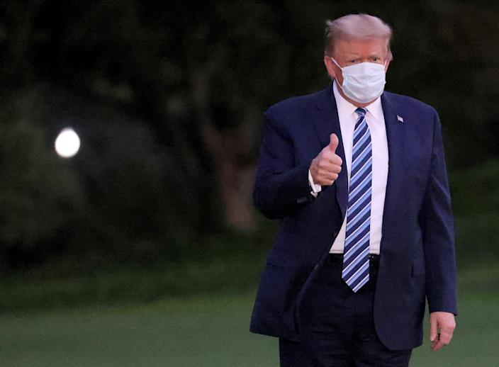 Donald Trump has signaled optimism after his return to the White House while dealing with an ongoing Covid-19 diagnosis. (Getty Images)