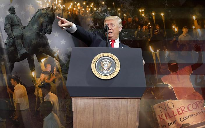 Charlottesville, Trump and Ferguson. (Yahoo News photo illustration; photos: Chip Somodevilla/Getty Images, Samuel Corum/Anadolu Agency/Getty Images, Alex Brandon/AP, Charlie Riedel/AP)