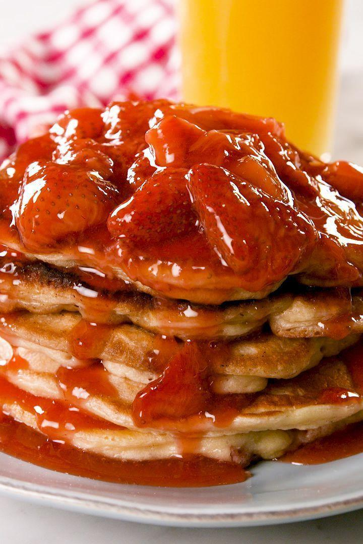 """<p>We took our <a href=""""https://www.delish.com/uk/cooking/recipes/a30452165/pancake-recipe/"""" rel=""""nofollow noopener"""" target=""""_blank"""" data-ylk=""""slk:perfect pancakes"""" class=""""link rapid-noclick-resp"""">perfect pancakes</a> and added a little cream cheese and strawberries to make the most addicting pancake ever. Then we topped them with a simple homemade strawberry syrup to really make then unforgettable. </p><p>Get the <a href=""""https://www.delish.com/uk/cooking/recipes/a32485162/strawberry-cheesecake-pancakes-recipe/"""" rel=""""nofollow noopener"""" target=""""_blank"""" data-ylk=""""slk:Strawberry Cheesecake Pancakes"""" class=""""link rapid-noclick-resp"""">Strawberry Cheesecake Pancakes</a> recipe.</p>"""