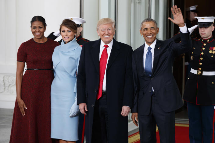 <p>President Barack Obama and first lady Michelle Obama stand with President-elect Donald Trump and his wife Melania Trump at the White House, Friday, Jan. 20, 2017, in Washington. (Photo: Evan Vucci/AP) </p>