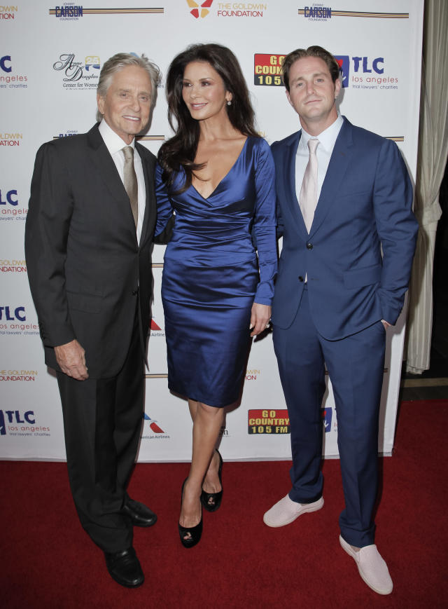 Michael Douglas, Catherine Zeta-Jones and Cameron Douglas attend the Los Angeles Mission Legacy of Vision Gala at Four Seasons Hotel Los Angeles at Beverly Hills on November 9, 2017 in Los Angeles, California. (Photo by Tibrina Hobson/Getty Images)