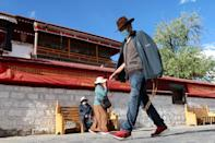 Street near Jokhang Temple during a government-organised media tour to Lhasa