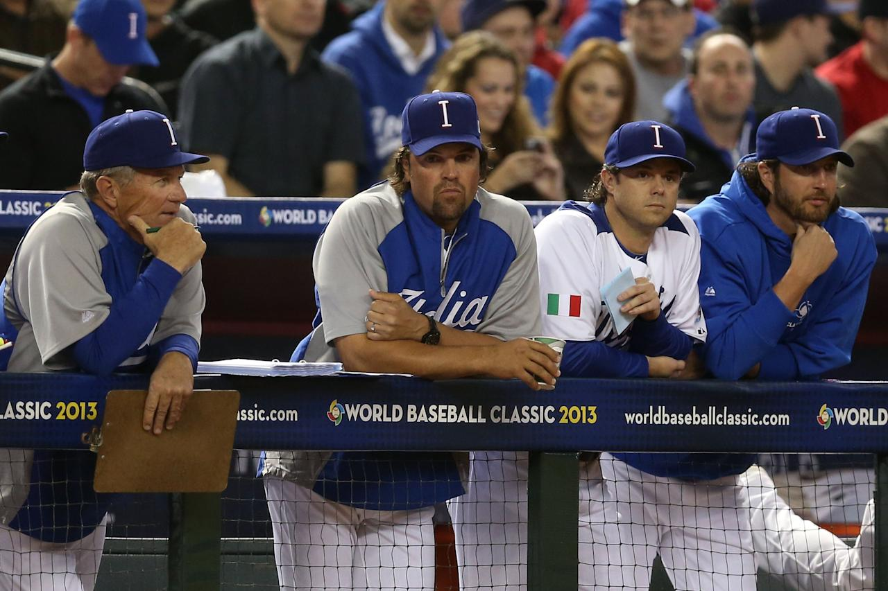 PHOENIX, AZ - MARCH 09:  Coach Mike Piazza of Team Italy looks on against Team USA during the World Baseball Classic First Round Group D game at Chase Field on March 9, 2013 in Phoenix, Arizona.  (Photo by Christian Petersen/Getty Images)